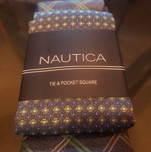 {NAUTICA} NWT Tie & Pocket Sq Set